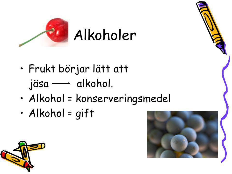 Alkoholer Frukt börjar lätt att jäsa alkohol.