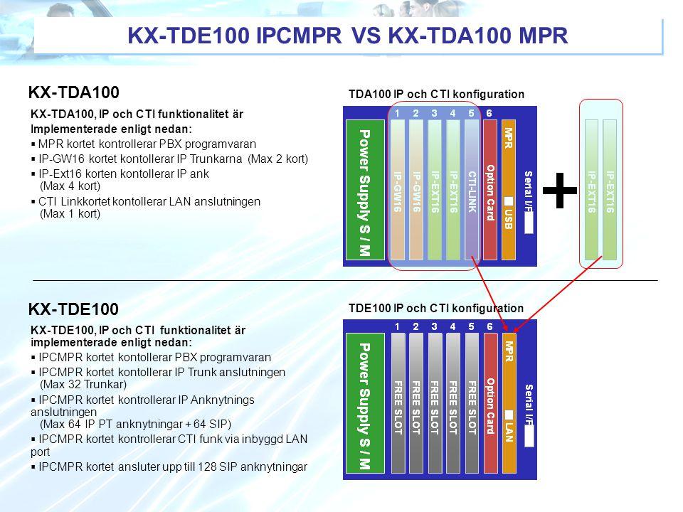 KX-TDE100 IPCMPR VS KX-TDA100 MPR