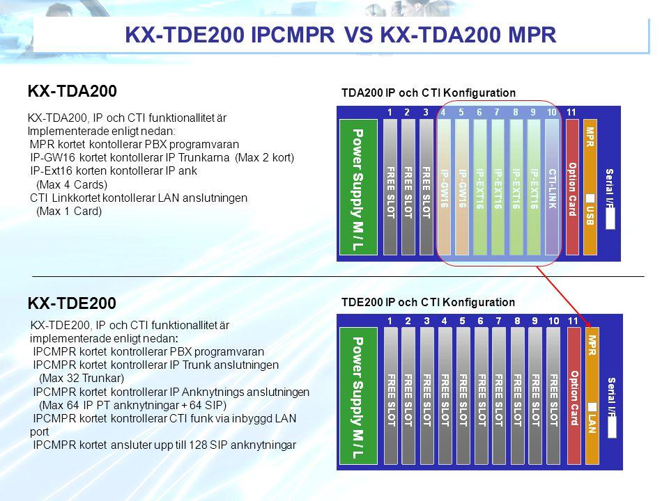 KX-TDE200 IPCMPR VS KX-TDA200 MPR