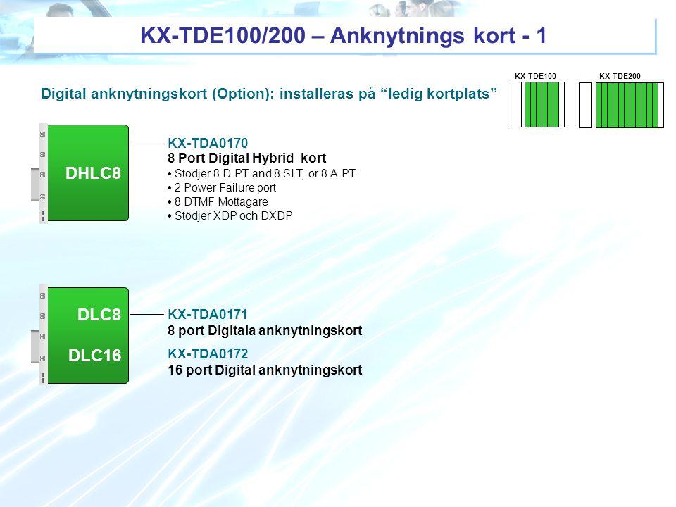 KX-TDE100/200 – Anknytnings kort - 1