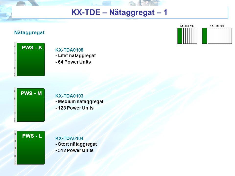 KX-TDE – Nätaggregat – 1 Nätaggregat PWS - S PWS - M PWS - L