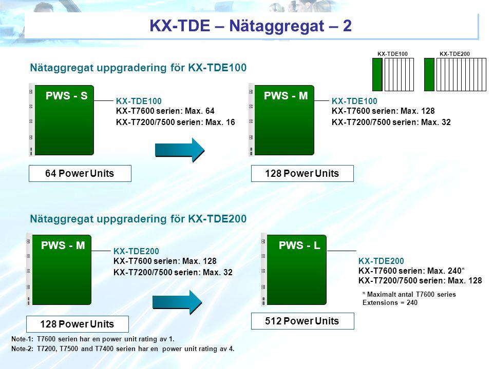 KX-TDE – Nätaggregat – 2 Nätaggregat uppgradering för KX-TDE100