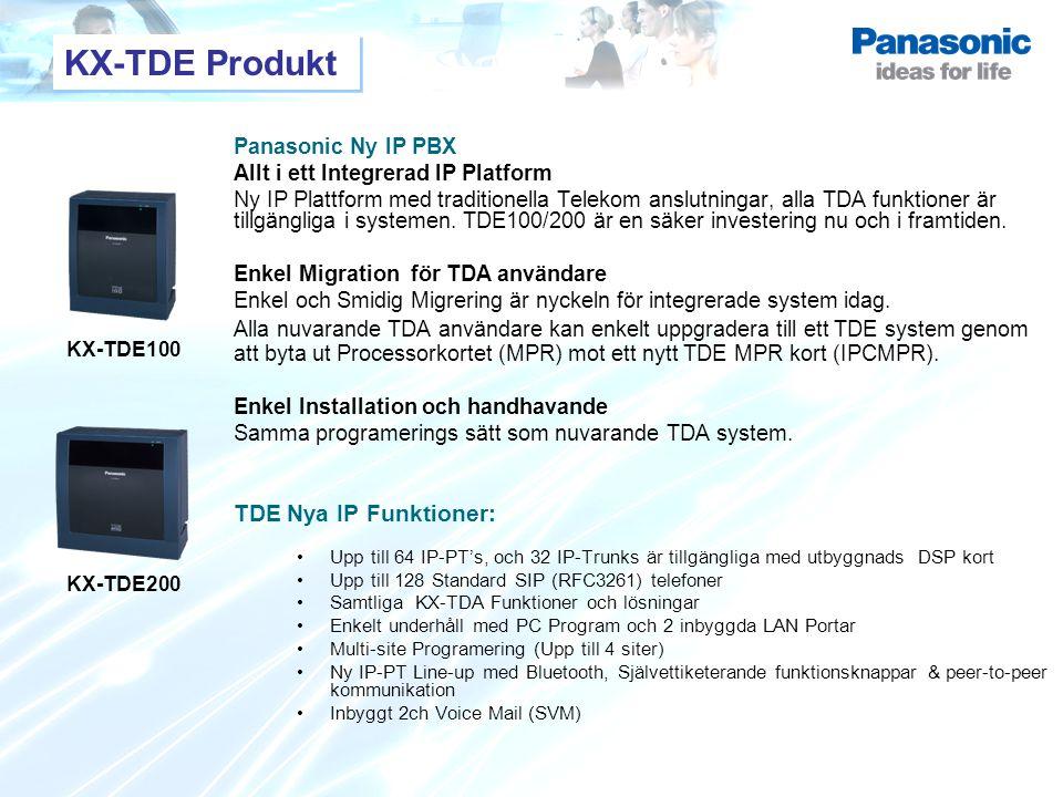 KX-TDE Produkt TDE Nya IP Funktioner: Panasonic Ny IP PBX