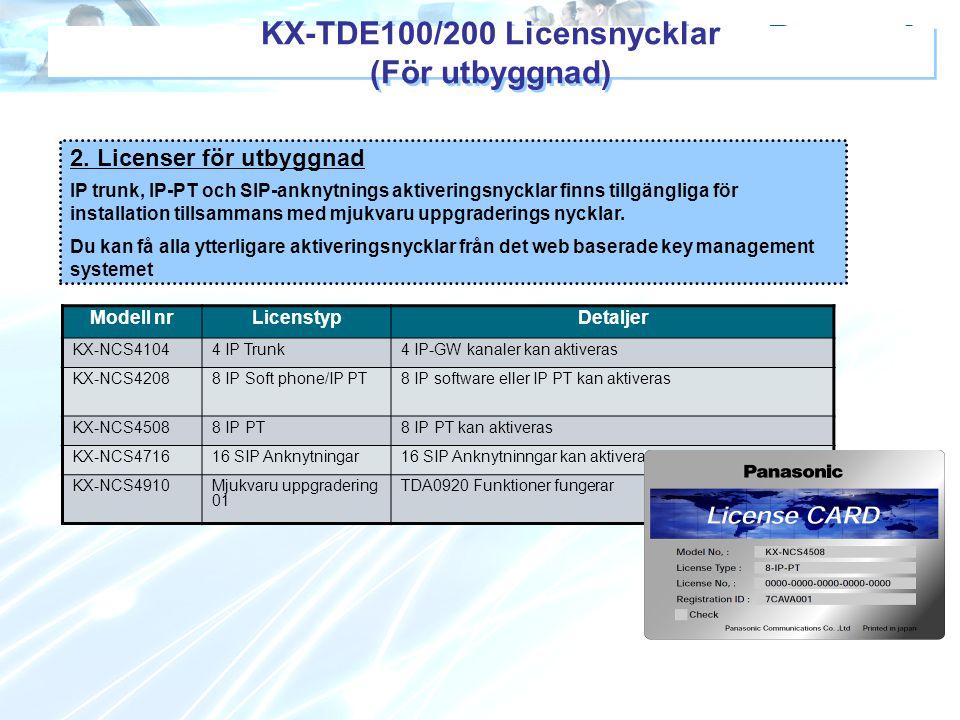 KX-TDE100/200 Licensnycklar (För utbyggnad)