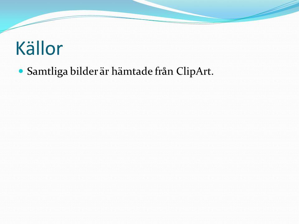 Källor Samtliga bilder är hämtade från ClipArt.