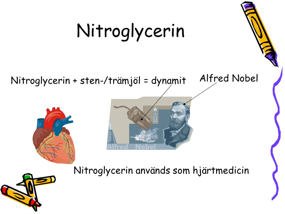 Nitroglycerin Alfred Nobel Nitroglycerin + sten-/trämjöl = dynamit