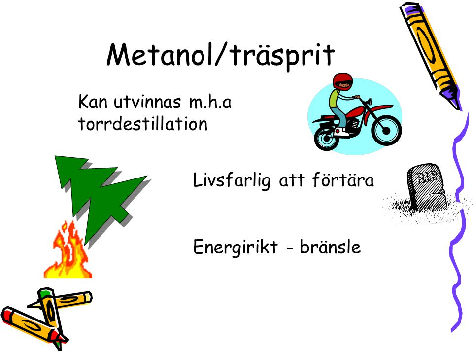Metanol/träsprit Kan utvinnas m.h.a torrdestillation