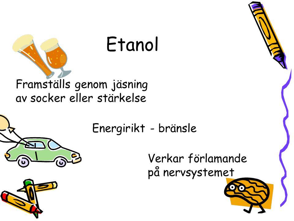 Etanol Framställs genom jäsning av socker eller stärkelse
