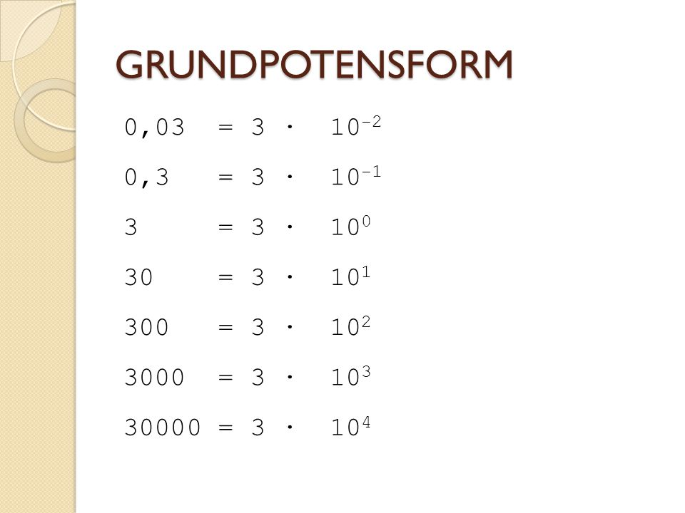 GRUNDPOTENSFORM 0,03 = 3 · 10-2 0,3 = 3 · 10-1 3 = 3 · 100