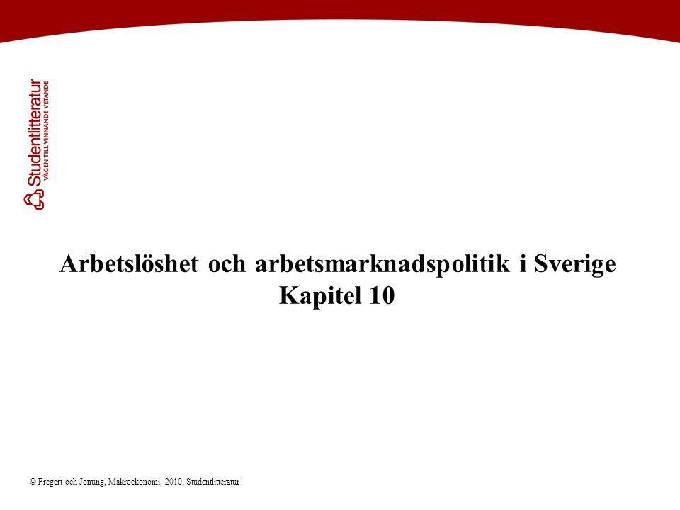Arbetslöshet och arbetsmarknadspolitik i Sverige Kapitel 10