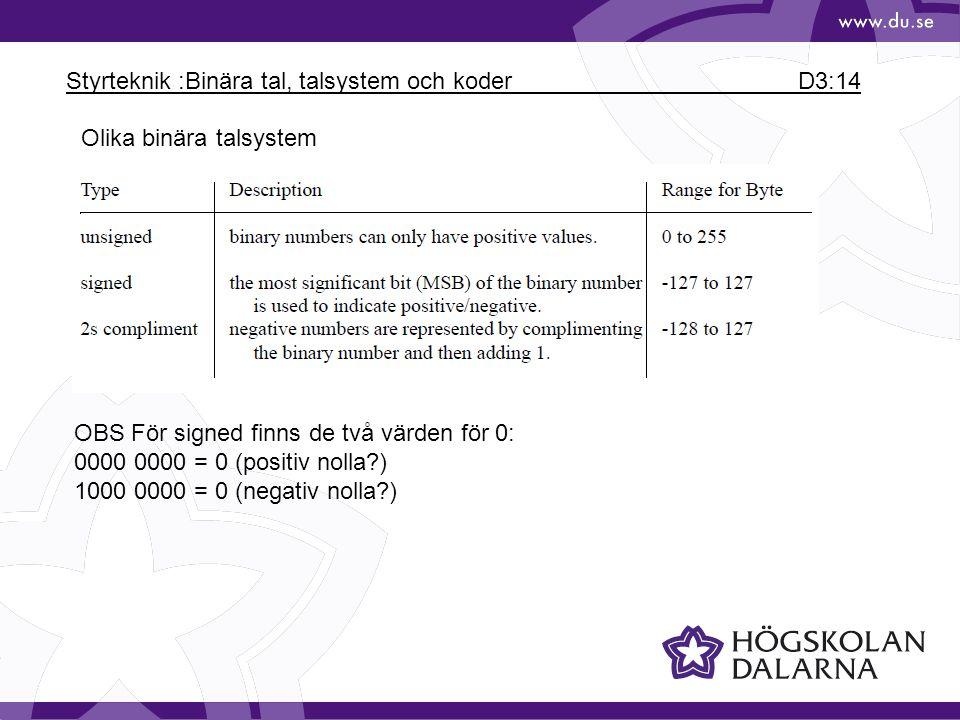 Styrteknik :Binära tal, talsystem och koder D3:14