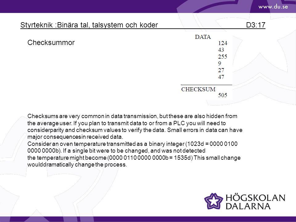 Styrteknik :Binära tal, talsystem och koder D3:17