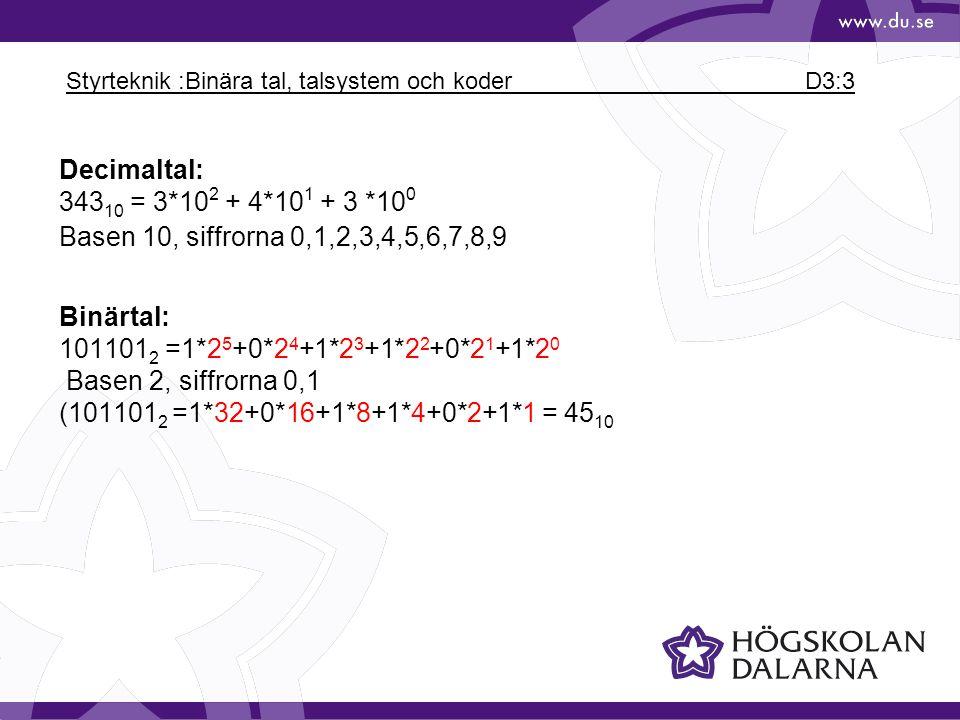Styrteknik :Binära tal, talsystem och koder D3:3