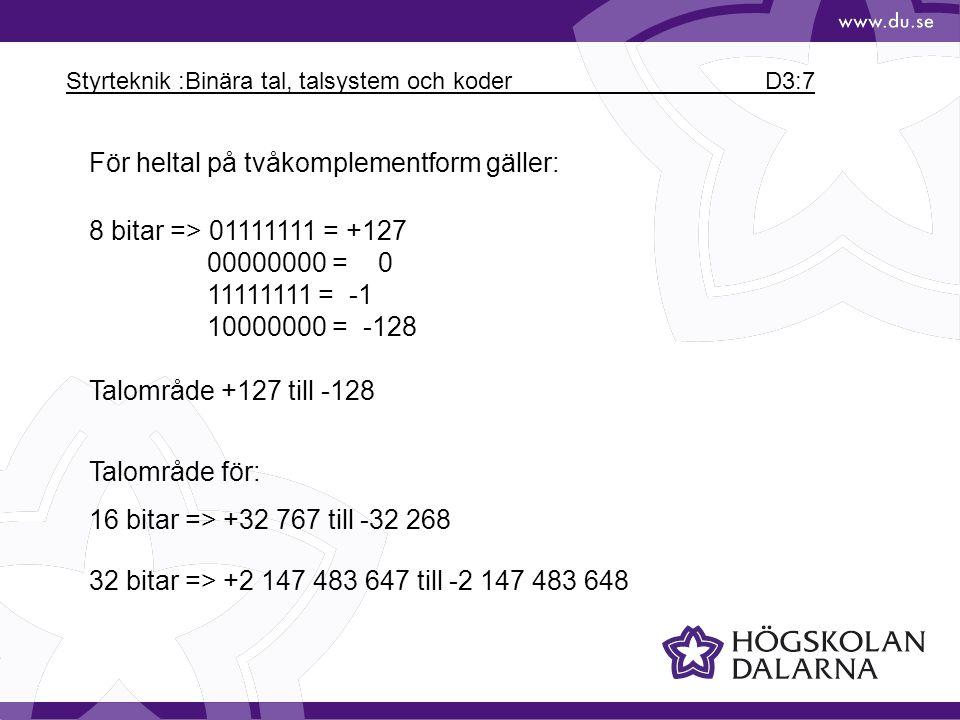 Styrteknik :Binära tal, talsystem och koder D3:7
