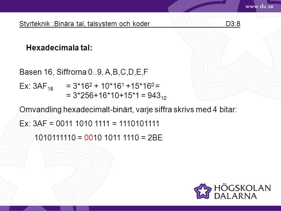 Styrteknik :Binära tal, talsystem och koder D3:8