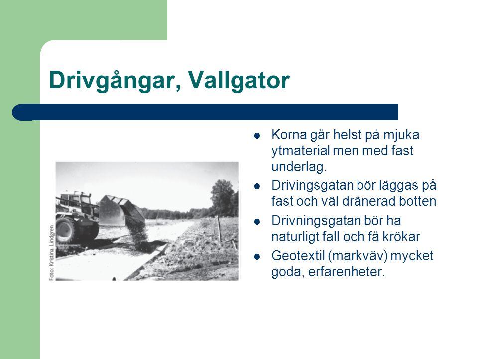 Drivgångar, Vallgator Korna går helst på mjuka ytmaterial men med fast underlag. Drivingsgatan bör läggas på fast och väl dränerad botten.