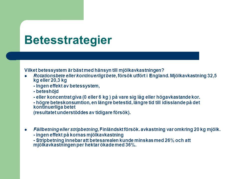 Betesstrategier Vilket betessystem är bäst med hänsyn till mjölkavkastningen