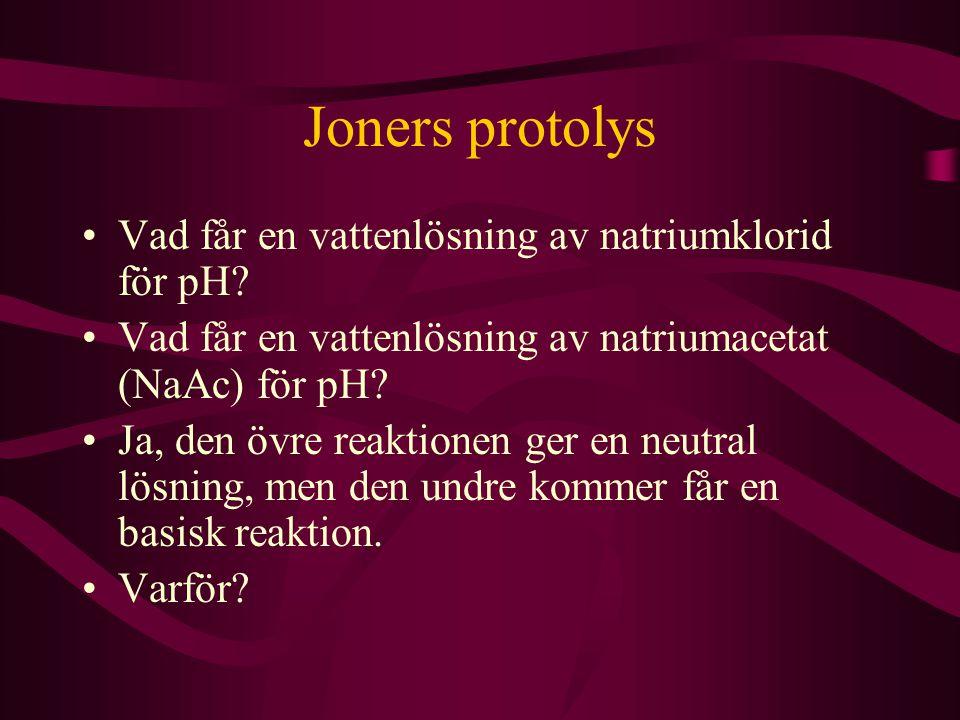 Joners protolys Vad får en vattenlösning av natriumklorid för pH