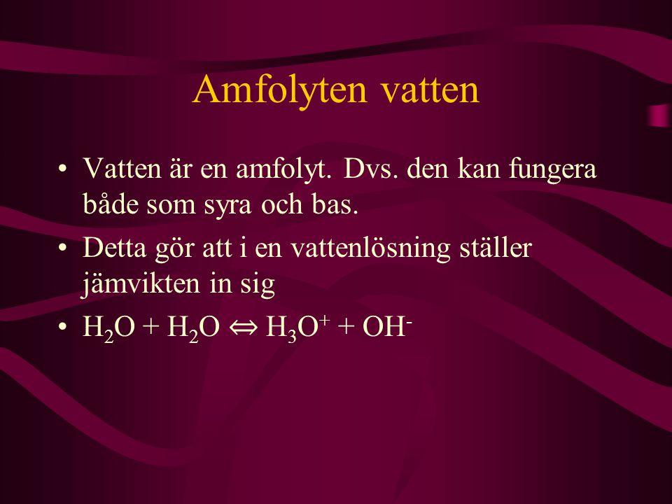 Amfolyten vatten Vatten är en amfolyt. Dvs. den kan fungera både som syra och bas. Detta gör att i en vattenlösning ställer jämvikten in sig.