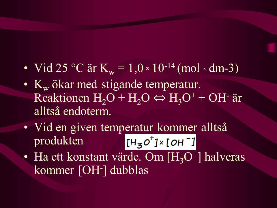 Vid 25 °C är Kw = 1,0 x 10-14 (mol x dm-3)