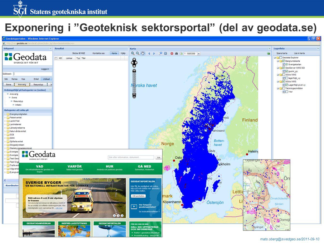 Exponering i Geoteknisk sektorsportal (del av geodata.se)