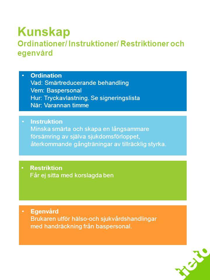 Kunskap Ordinationer/ Instruktioner/ Restriktioner och egenvård