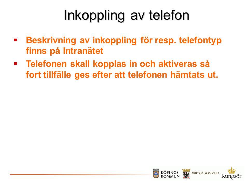 Inkoppling av telefon Beskrivning av inkoppling för resp. telefontyp finns på Intranätet.