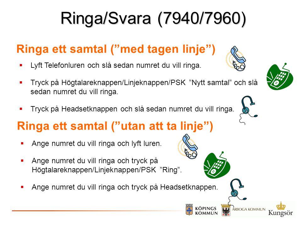 Ringa/Svara (7940/7960) Ringa ett samtal ( med tagen linje )