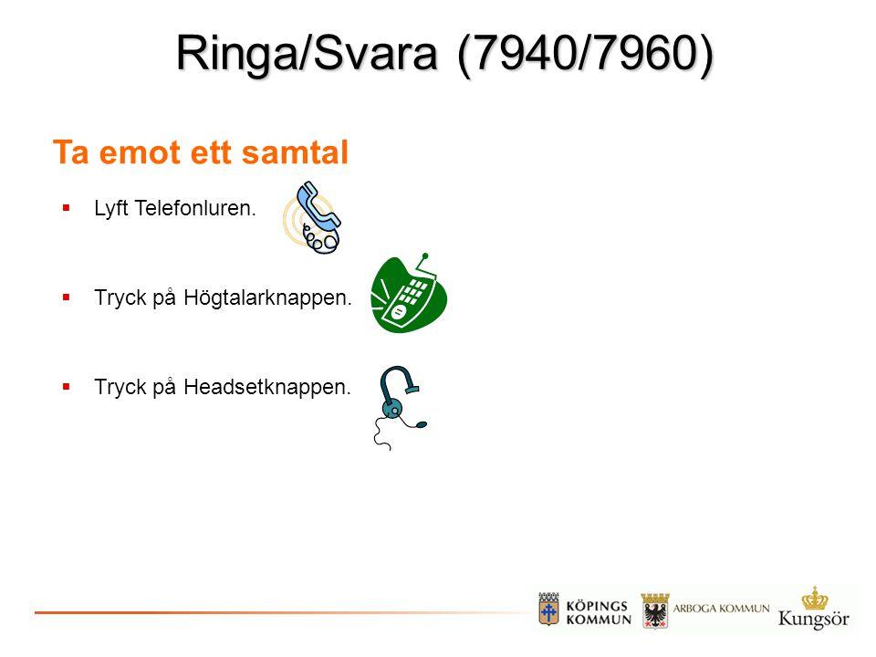 Ringa/Svara (7940/7960) Ta emot ett samtal Lyft Telefonluren.