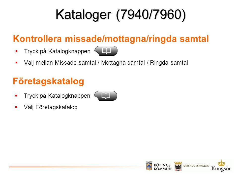 Kataloger (7940/7960) Kontrollera missade/mottagna/ringda samtal
