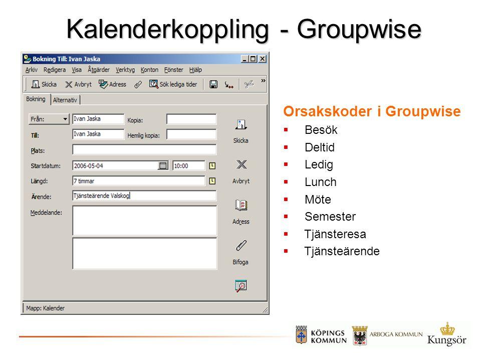 Kalenderkoppling - Groupwise