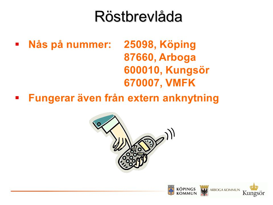 Röstbrevlåda Nås på nummer: 25098, Köping 87660, Arboga 600010, Kungsör 670007, VMFK.