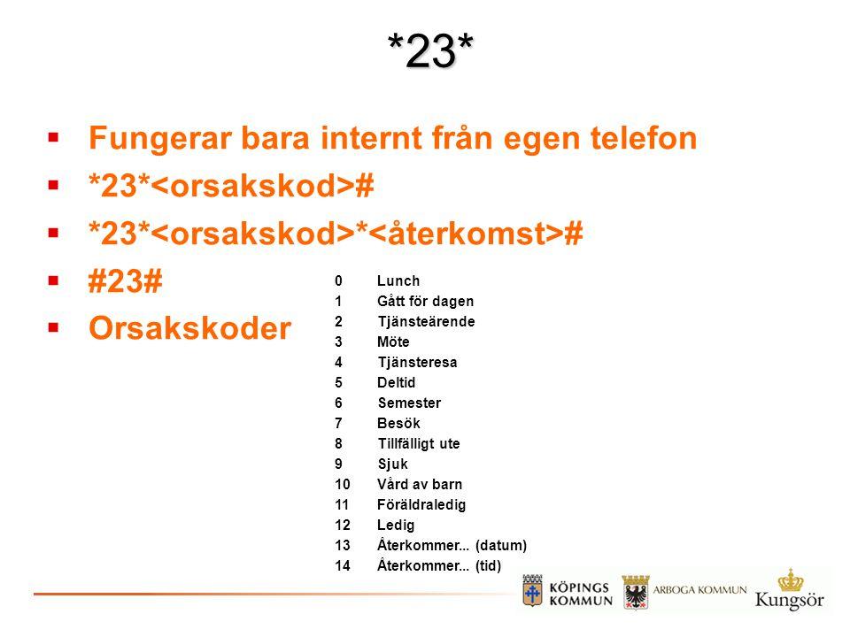 *23* Fungerar bara internt från egen telefon *23*<orsakskod>#
