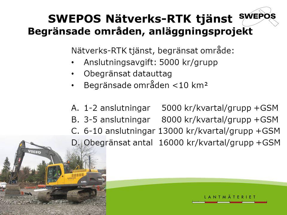 SWEPOS Nätverks-RTK tjänst Begränsade områden, anläggningsprojekt