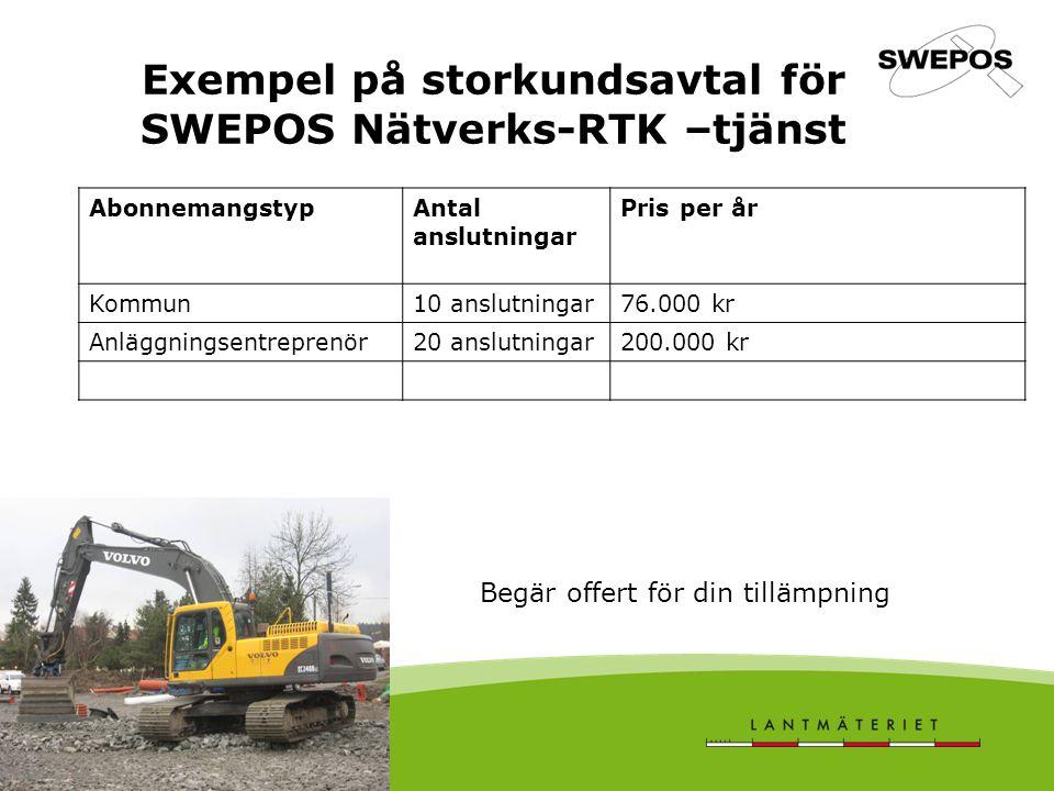 Exempel på storkundsavtal för SWEPOS Nätverks-RTK –tjänst