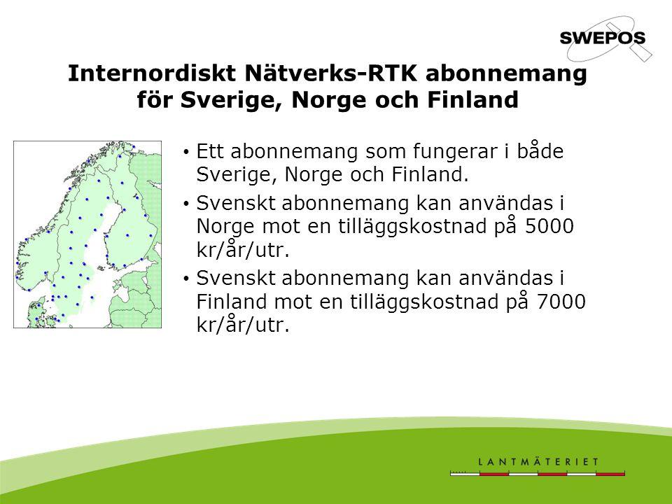Internordiskt Nätverks-RTK abonnemang för Sverige, Norge och Finland