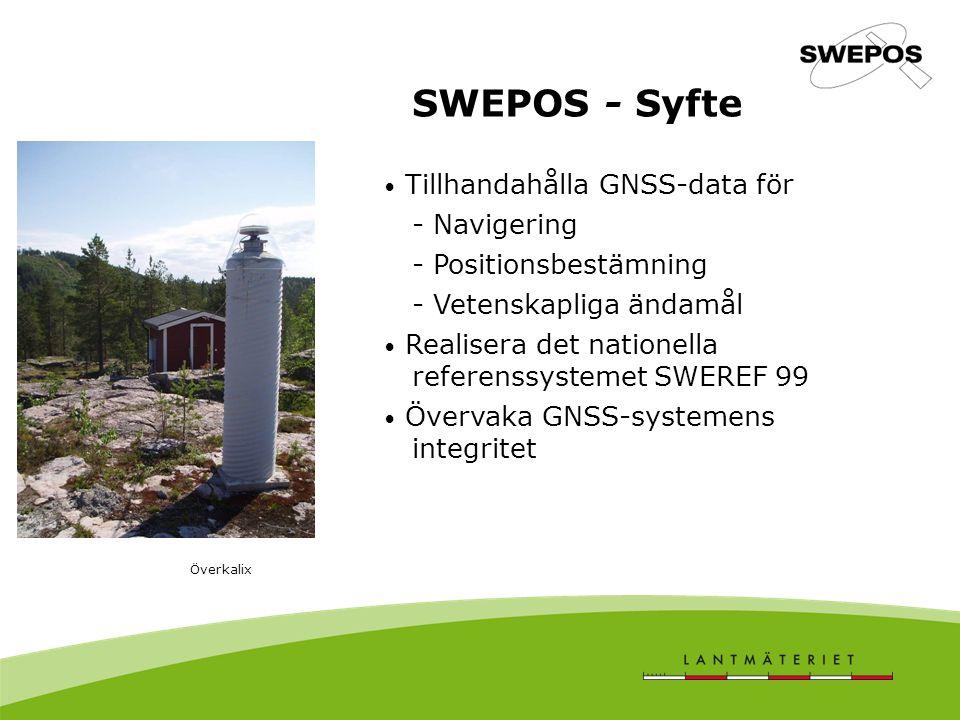 SWEPOS - Syfte Tillhandahålla GNSS-data för - Navigering