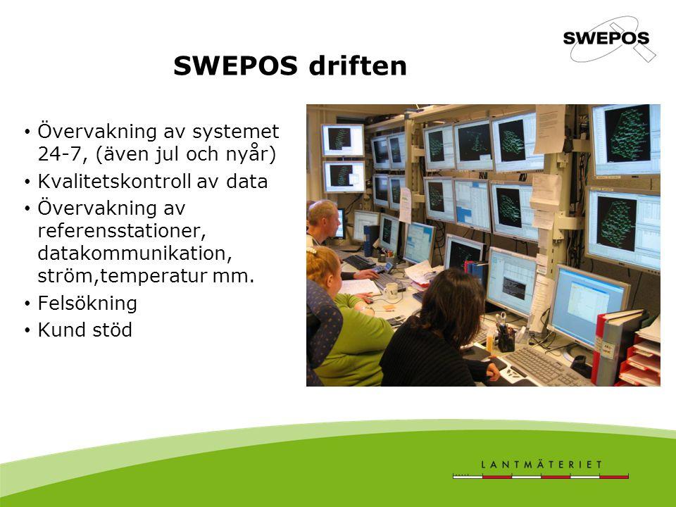 SWEPOS driften Övervakning av systemet 24-7, (även jul och nyår)
