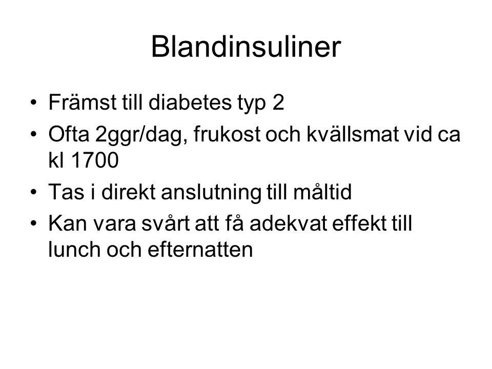 Blandinsuliner Främst till diabetes typ 2