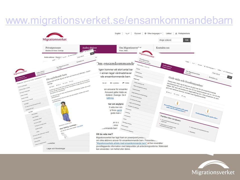www.migrationsverket.se/ensamkommandebarn På Migrationsverkets webbplats, www.migrationsverket.se, finns mycket information.