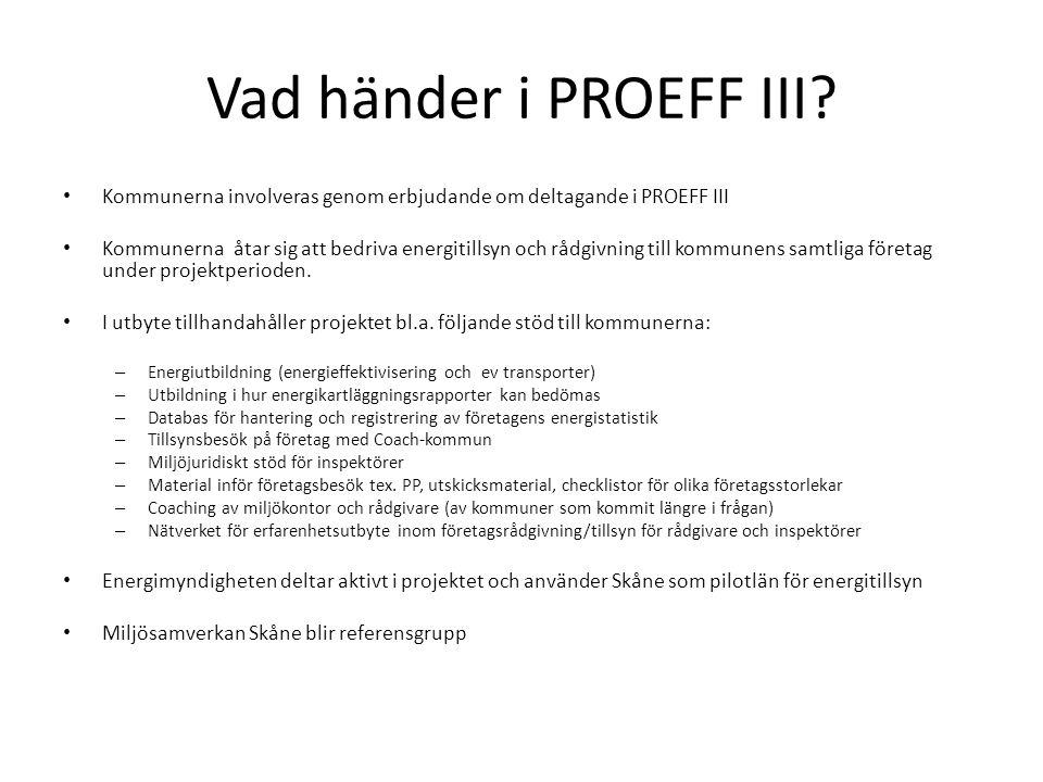 Vad händer i PROEFF III Kommunerna involveras genom erbjudande om deltagande i PROEFF III.