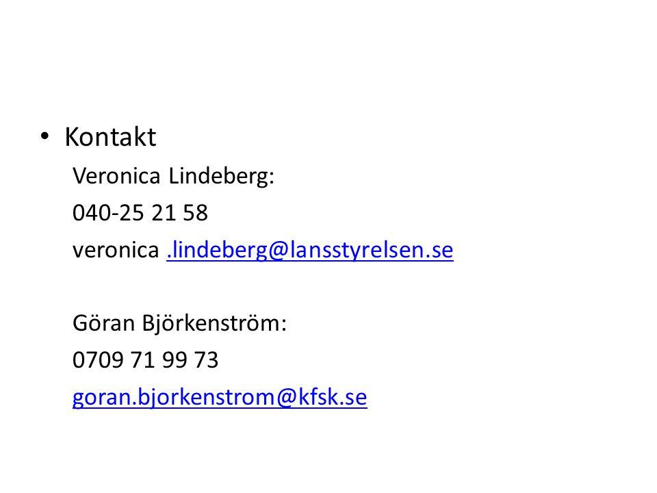 Kontakt Veronica Lindeberg: 040-25 21 58