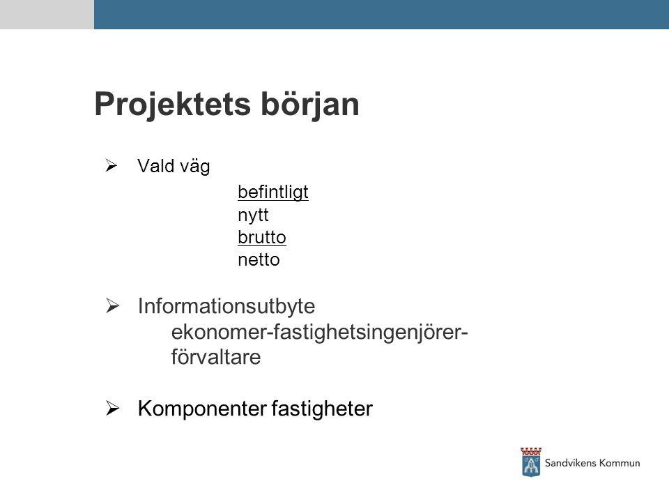 Projektets början befintligt Informationsutbyte
