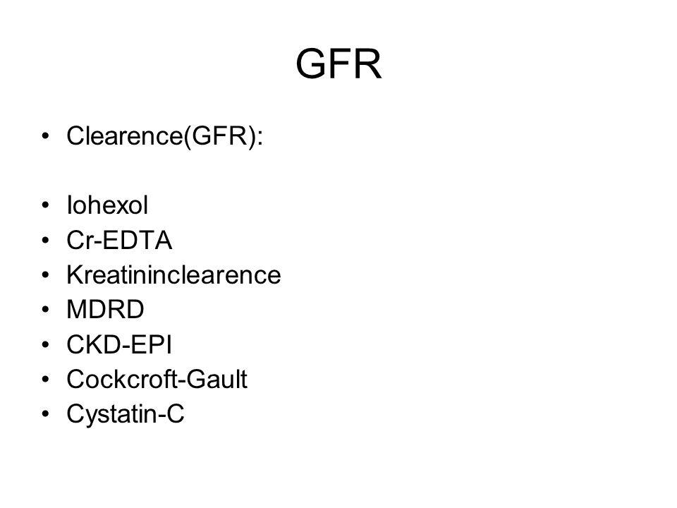 GFR Clearence(GFR): Iohexol Cr-EDTA Kreatininclearence MDRD CKD-EPI