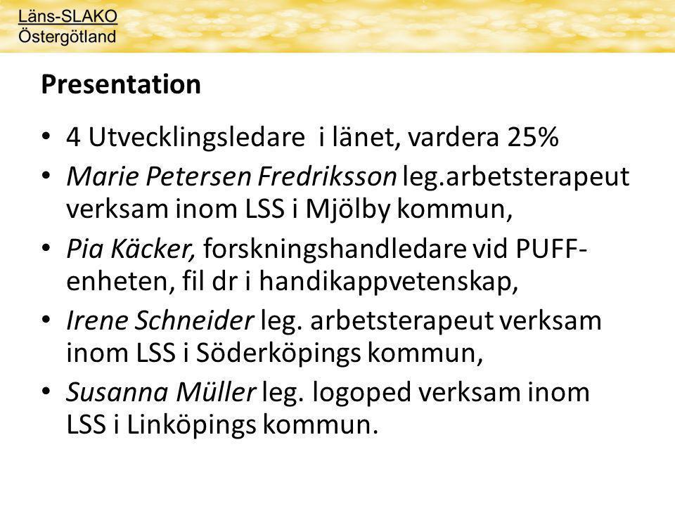 Presentation 4 Utvecklingsledare i länet, vardera 25% Marie Petersen Fredriksson leg.arbetsterapeut verksam inom LSS i Mjölby kommun,