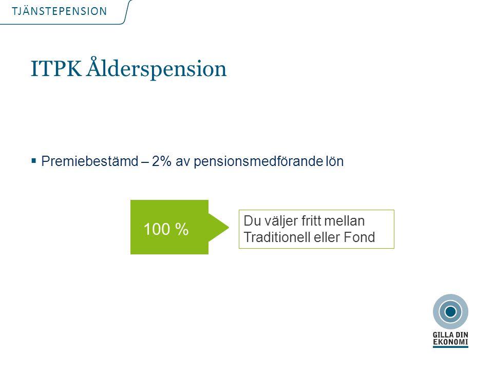 ITPK Ålderspension 100 % Premiebestämd – 2% av pensionsmedförande lön