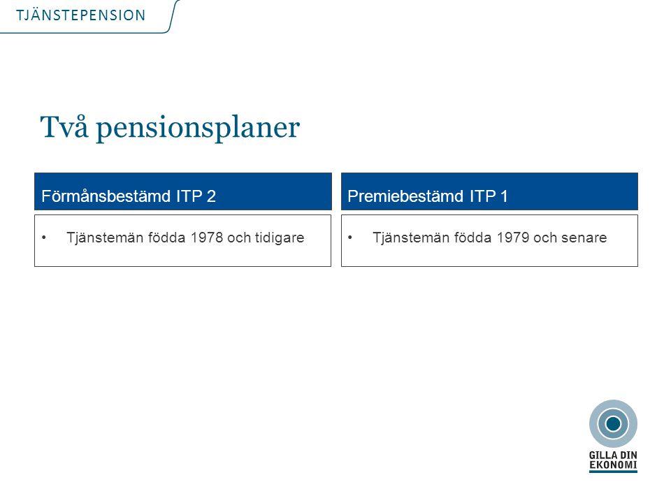 Två pensionsplaner Förmånsbestämd ITP 2 Premiebestämd ITP 1