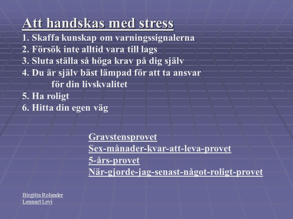 Att handskas med stress