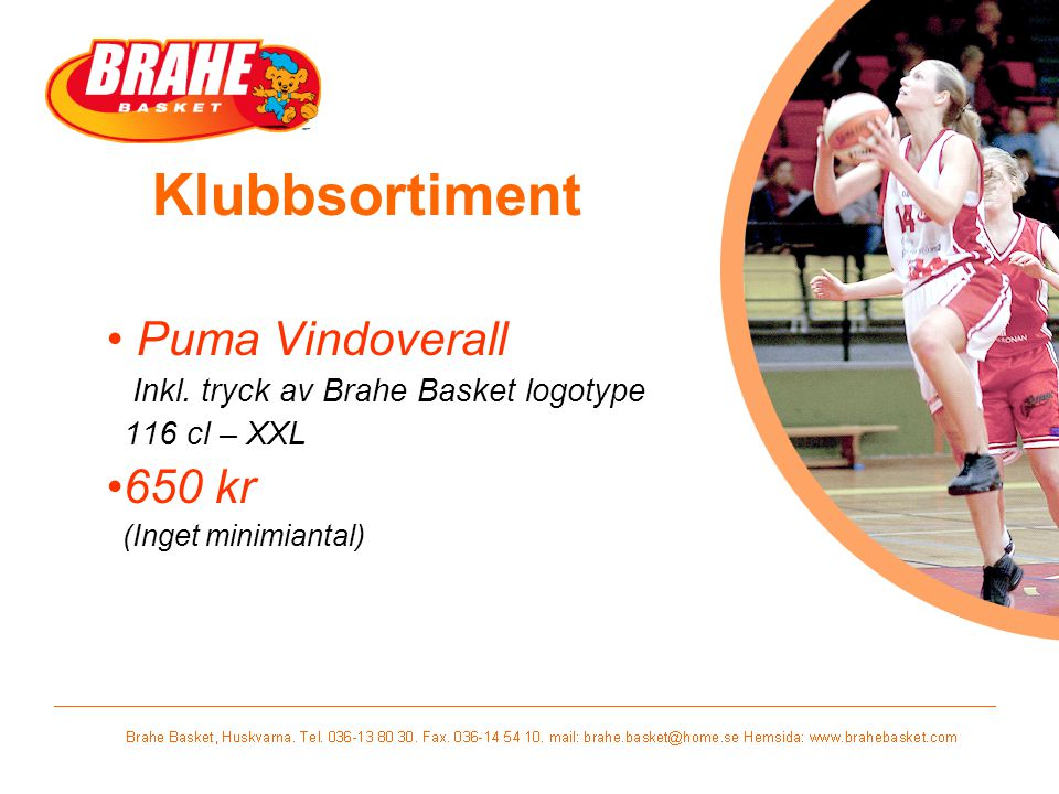 Klubbsortiment Puma Vindoverall 650 kr