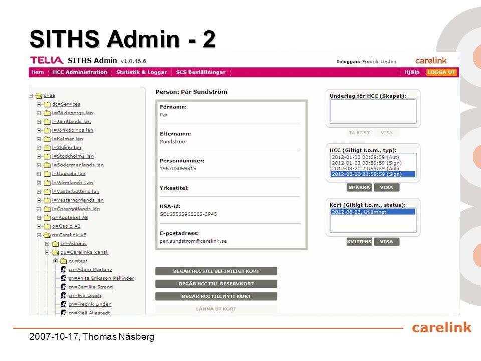 SITHS Admin - 2 2007-10-17, Thomas Näsberg
